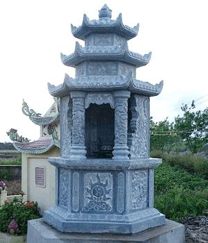 Mộ Đá Lục Giác Ba Mái làm từ Đá Xanh nguyên khối